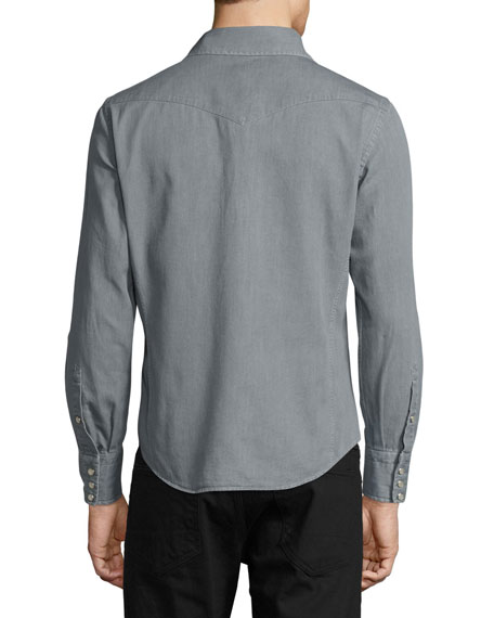Western Pearl-Snap Denim Shirt, Gray