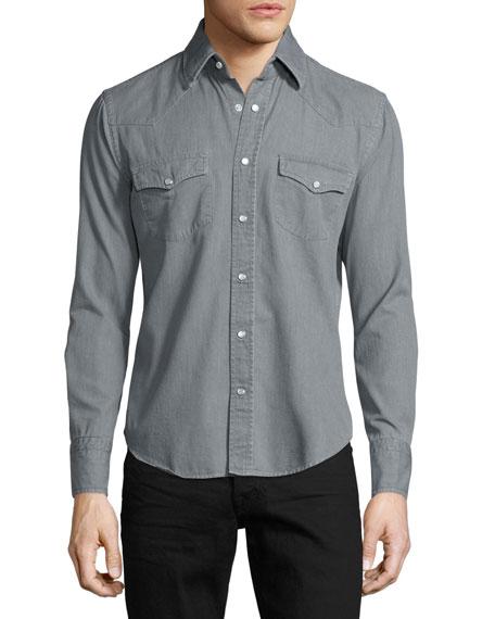 Western Pearl-Snap Denim Shirt, Gray
