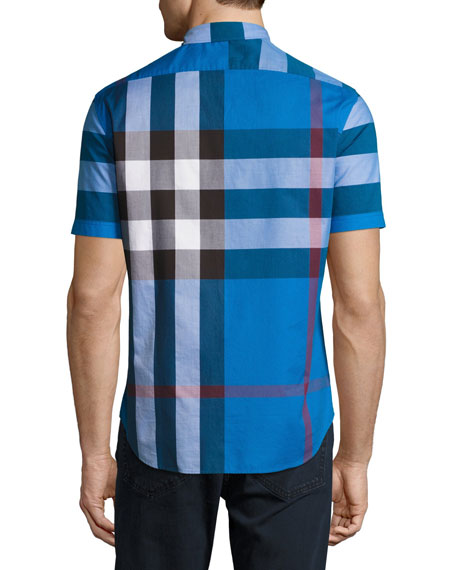 faf24ef5c192 Burberry Fred Check Short-Sleeve Woven Shirt, Blue