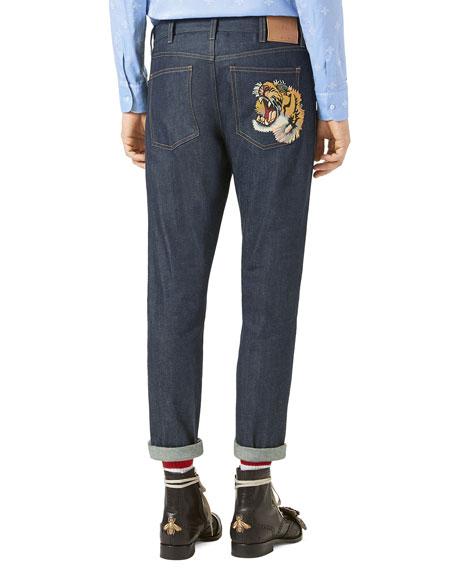 Stretch-Denim Slim Pants w/Tiger, Blue