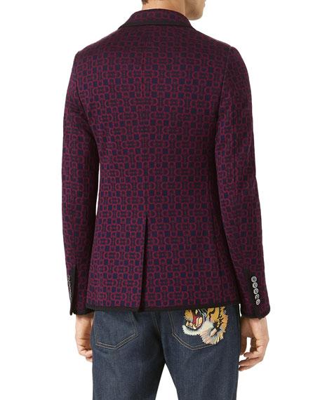 Horsebit Jacquard Jersey Jacket, Navy/Burgundy