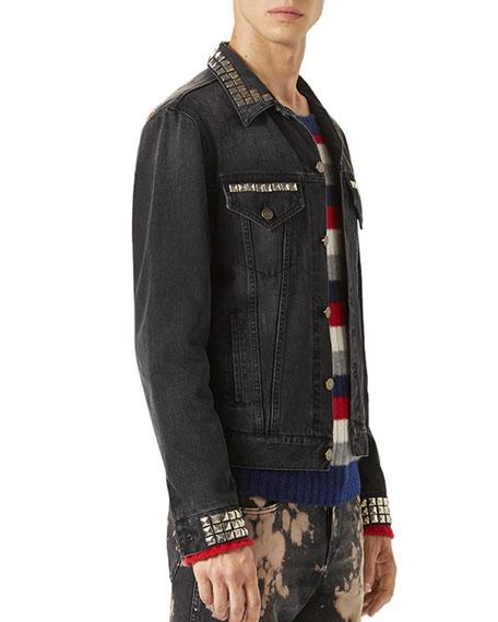 Denim Jacket w/Embroideries, Black Stone Wash