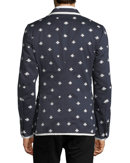 Tipped Cotton Blazer w/ Bees & Stars