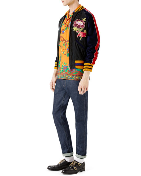 Velvet Bomber Jacket w/Embroideries, Multicolor