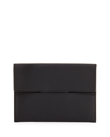 T Grained Leather Passport Holder, Black