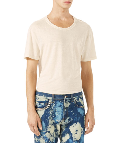 Cotton-Linen T-Shirt w/Embroidery, White