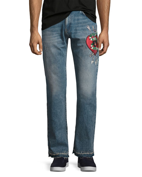 Denim Straight Pants w/Embroidery, Blue Stone Bleach Wash