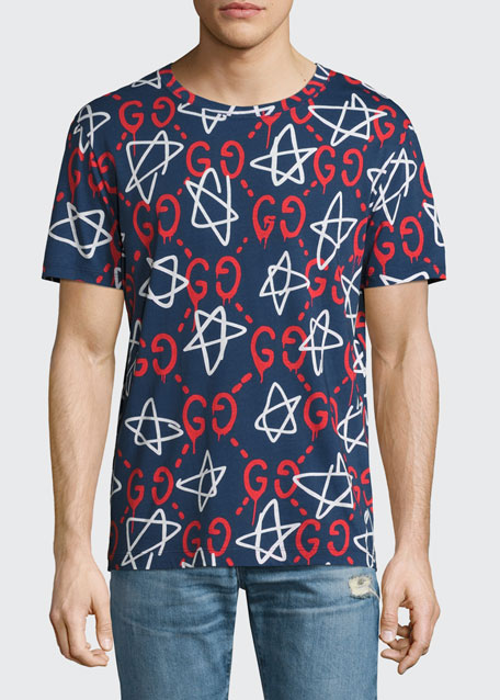 GucciGhost Star T-Shirt, Navy