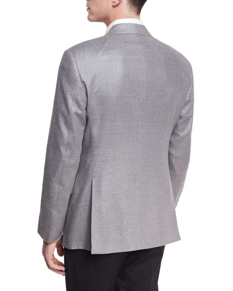 Textured Two-Button Sport Coat, Light Gray
