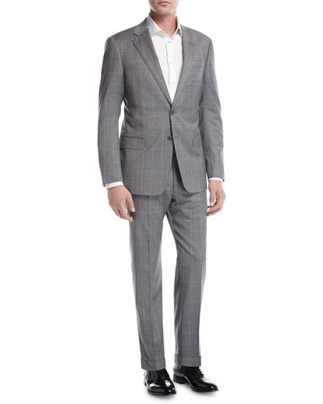 Windowpane Check Virgin Wool Two-Piece Suit