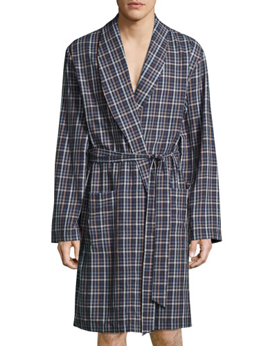 Paolo Plaid Flannel Robe, Toffee Check