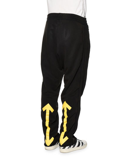 Drawstring Sweatpants w/Arrows, Black/Yellow