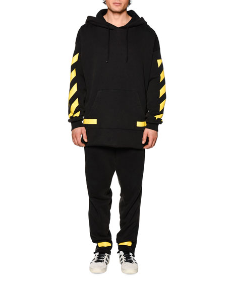 Drawstring Sweatpants w/Arrows, Black/Yellow