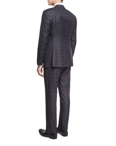 Plaid Wool-Silk Two-Piece Suit, Gray