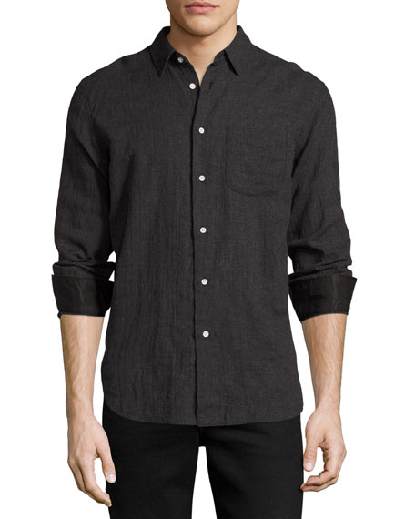 Beach Mini-Houndstooth Shirt, Charcoal