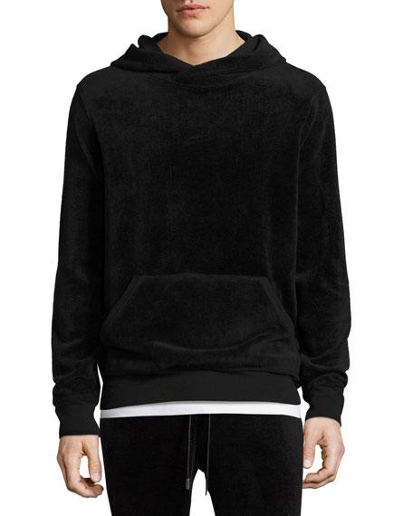 Velour Hooded Sweatshirt, Black