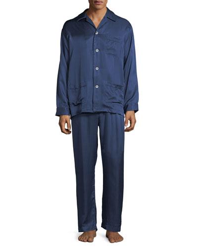 Bengal-Stripe Silk Satin Pajamas