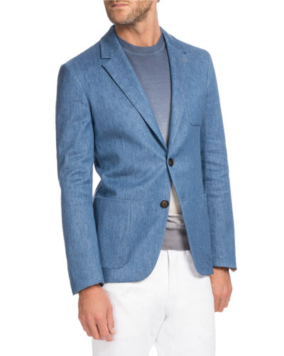 Chambray Two-Button Blazer, Medium-Light Blue