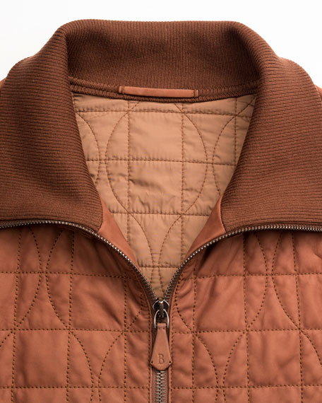 Quilted Leather Bomber Jacket, Brown