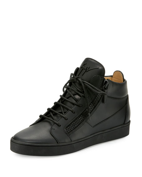 Men's Tonal Leather Mid-Top Sneaker, Black