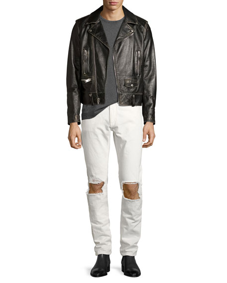 Stone-Wash Blowout-Knee Straight-Leg Jeans, Off White