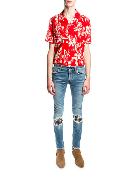 1a2e0be27cb Saint Laurent Low-Waist Studded Leather-Patch Skinny Jeans, Medium ...