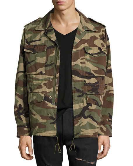 327b9d5670a Saint Laurent Love Force Canvas Military Jacket, Camouflage
