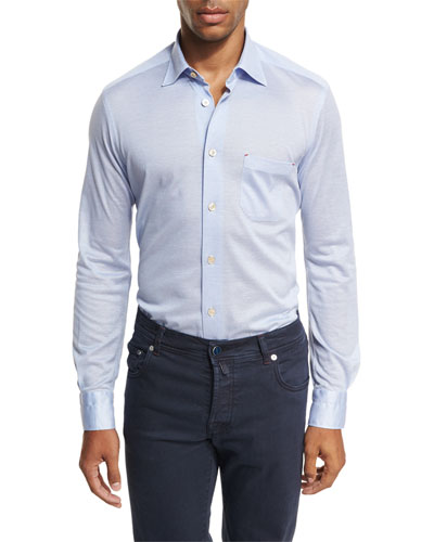Pique Knit Oxford Shirt, Light Blue