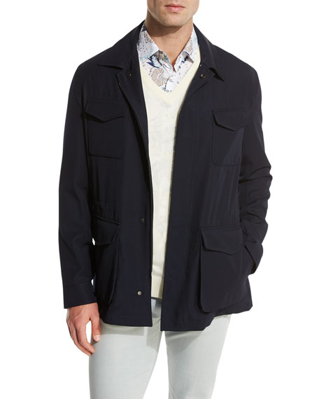Classic Safari Jacket, Navy Blue