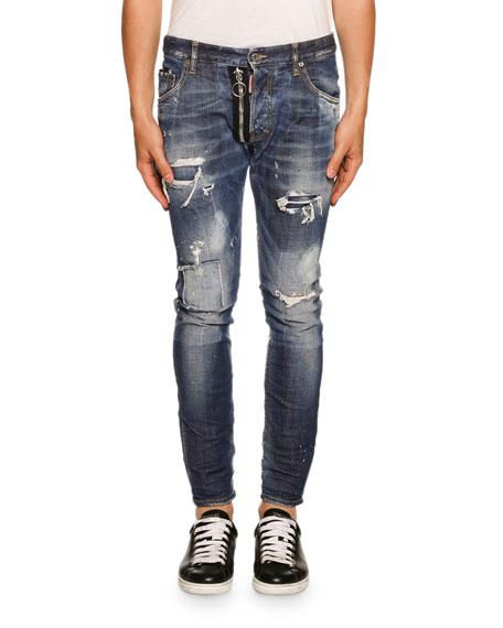 20a74ef10bd66c Dsquared2 Skater Zip-Detail Love Wash Jeans, Blue