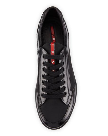Nylon & Patent Leather Low-Top Sneaker, Black