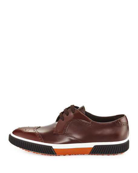 Wing-Tip Dress Sneaker, Brown