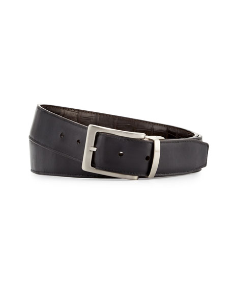 Reversible Crocodile & Leather Belt Two-Buckle Box Set