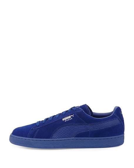 Men's Suede Classic Mono Reptile Sneakers, Royal Blue