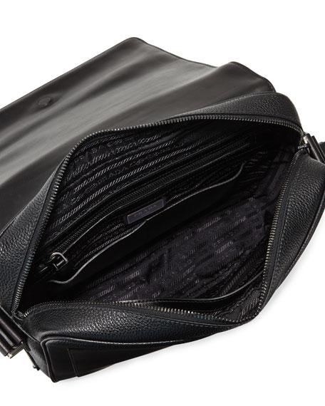 Men's Leather Messenger Bag, Black