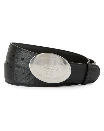 Round Logo Saffiano Belt, Black
