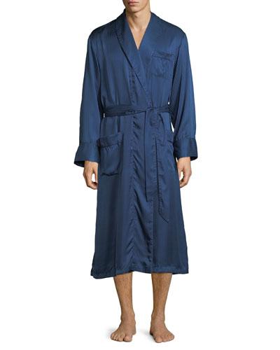 Woburn 8 Bengal-Stripe Silk Satin Robe