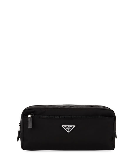 Nylon Double-Zip Toiletry Bag, Black