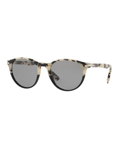 Men's PO31525 Round Acetate Sunglasses