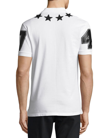 Cuban-Fit Star-Appliqué Polo Shirt, White/Black