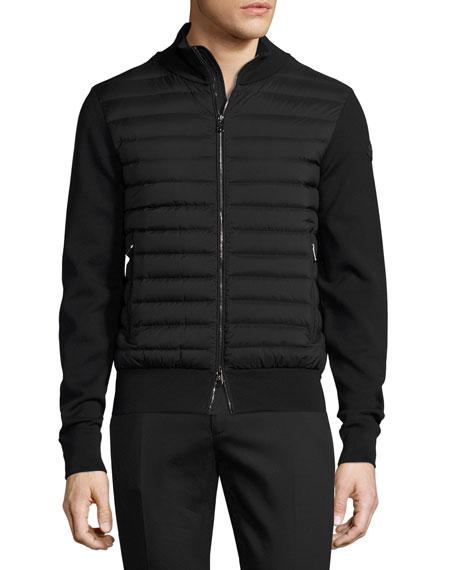 Moncler Zip-Front Puffer Cardigan, Black