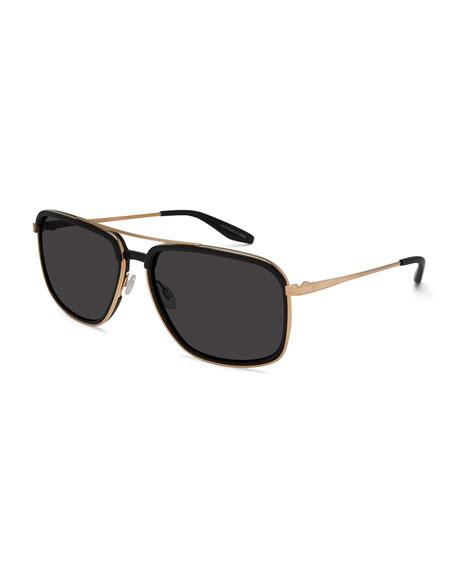 Magnate Acetate & Titanium Rectangular Aviator Sunglasses,