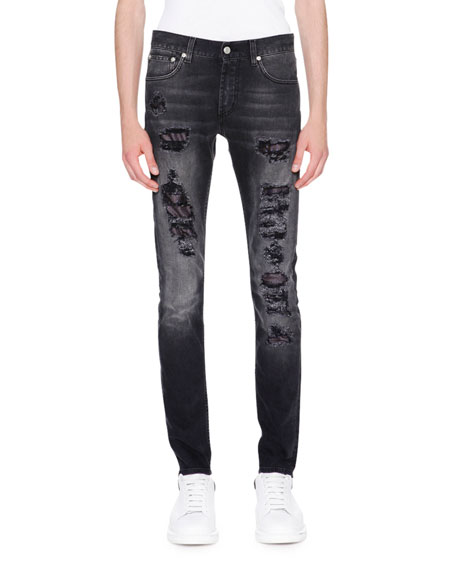 Contrast-Underlay Destroyed Skinny Jeans, Black