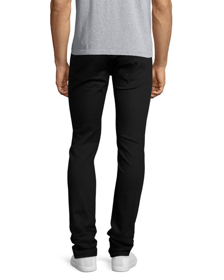Clean-Denim Skinny Jeans with Skull Hip Button, Black
