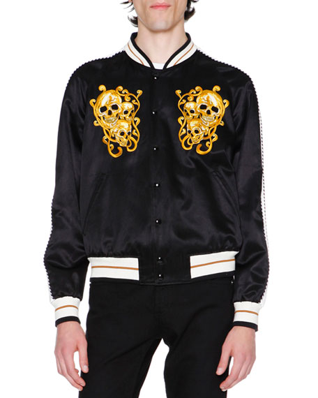 Embroidered Skulls Silk Varsity Jacket, Black