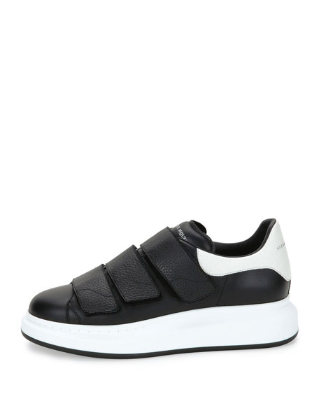 Bicolor Leather Trainer Sneakers, Black