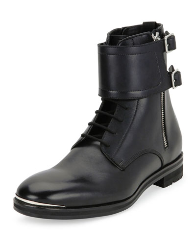 Leather Lace-Up Monk-Strap Boots, Black