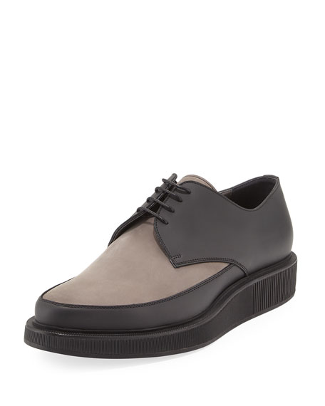 Lanvin Men's Suede & Leather Derby Creeper, Gray