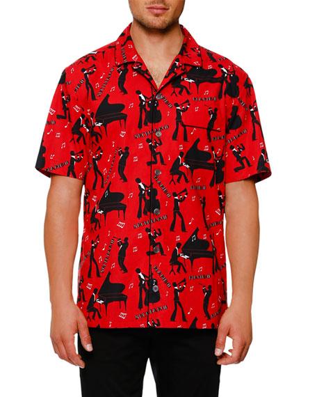 Dolce & Gabbana Mambo-Print Short-Sleeve Shirt, Red