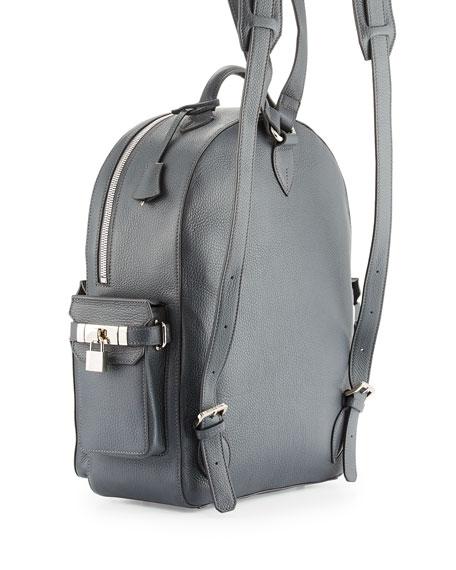PHD Men's Calf Leather Backpack, Dark Gray